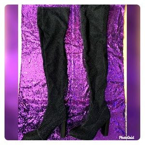 Black with silver enhanced glitter knee boot